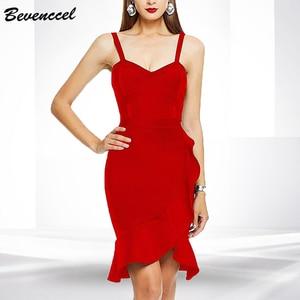 Bevenccel Summer Bodycon Bandage Dress 2020 New Spaghetti Strap Ruffle Elegant Women Dress Vestidos Celebrity Club Party Dress