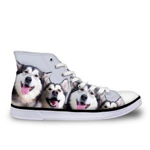 HaoYun Women's Vulcanize Shoes Husky Dogs High-top Canvas Sneakers Girls Lace-up Casual Walking Shoes Autumn Sapato Feminino