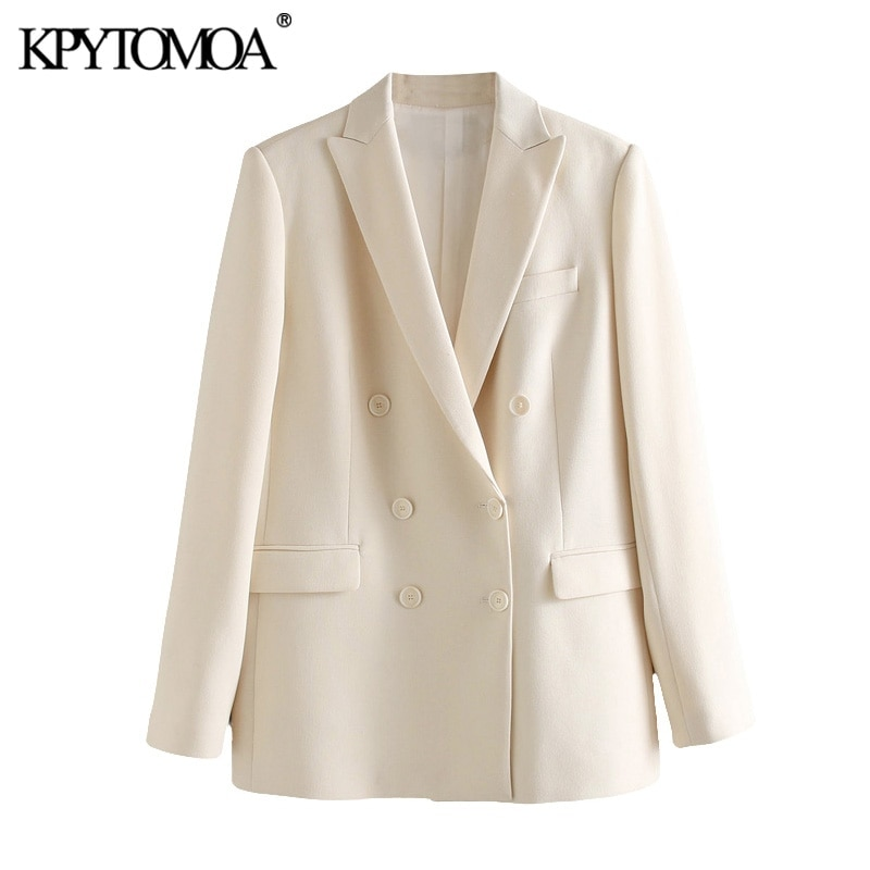 KPYTOMOA Women 2020 Fashion Office Wear Double Breasted Blazer Coat Vintage Long Sleeve Pockets Female Outerwear Chic Tops