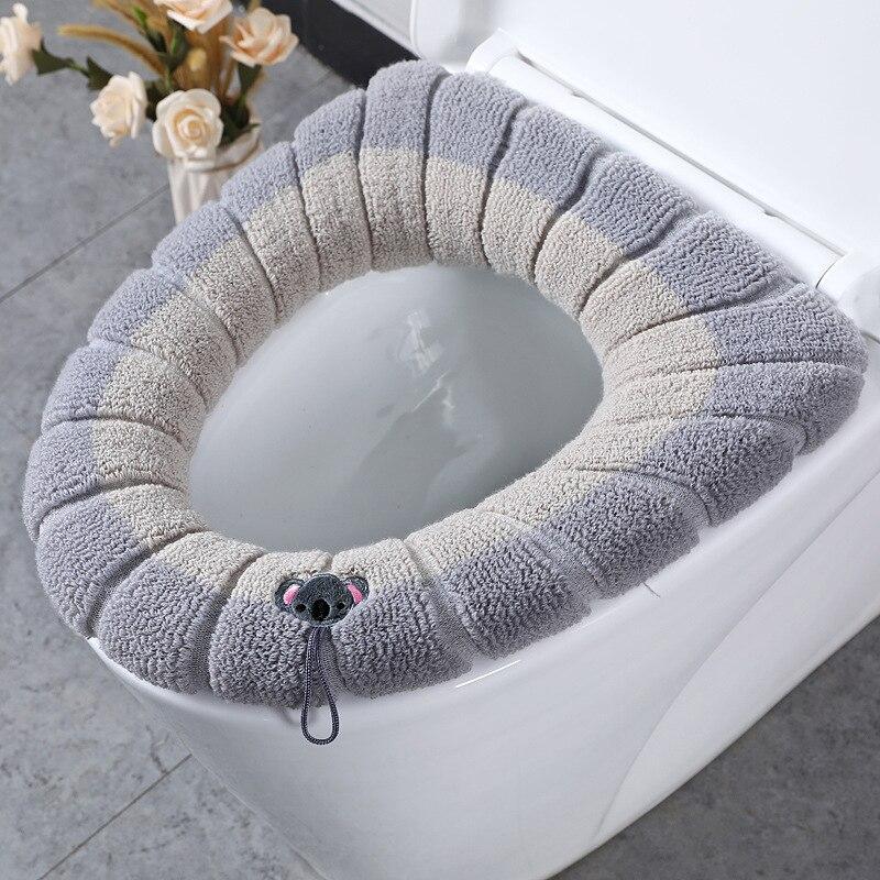Удобный бархатный коралловый чехол на сиденье для унитаза, зимний чехол для унитаза, бытовой чехол для сидения, крышка для унитаза чехол