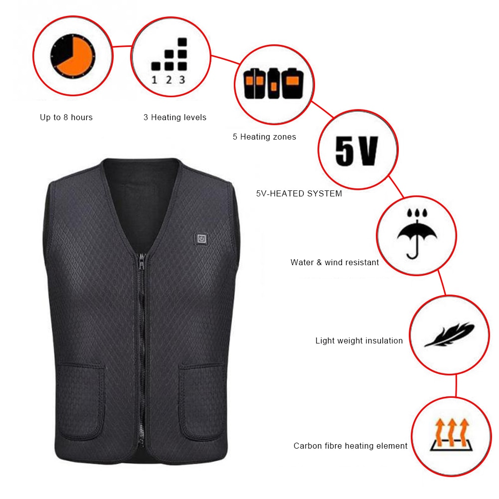 Men Women Outdoor USB Infrared Heating Vest Jacket Winter Flexible Electric Thermal Clothing Waistcoat For Sports Hiking Shippin enlarge