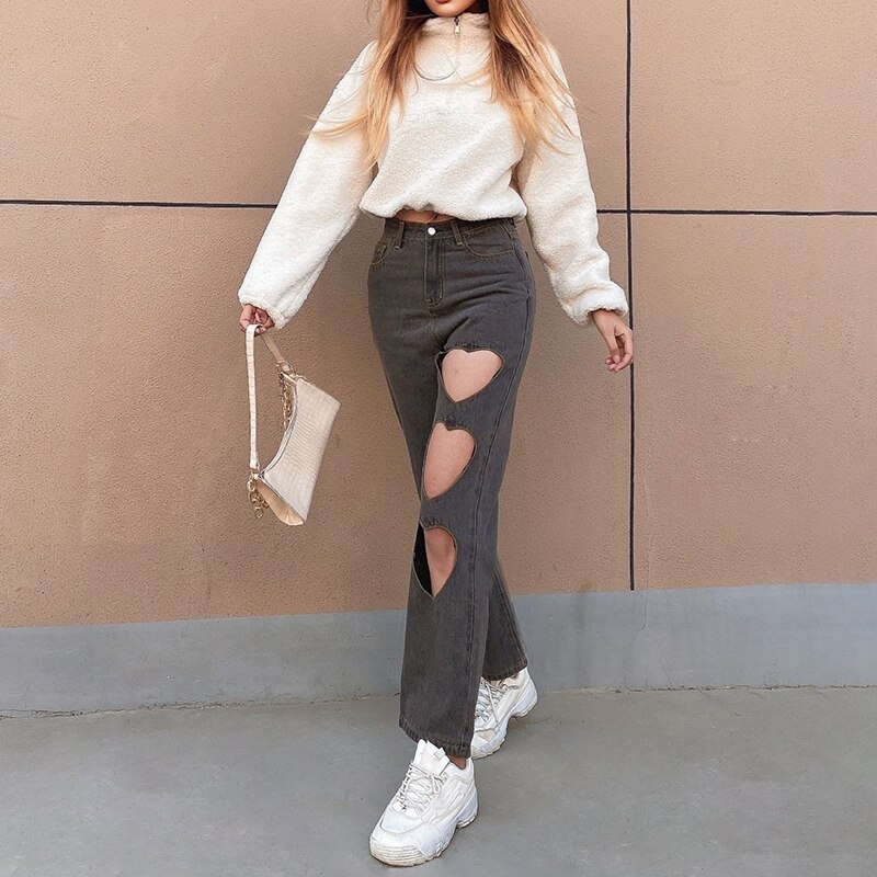Gray Vintage Baggy Straight Pants Boyfriends Women's Heart Hollow Out High Waist Jeans Y2K Denim Distressed Streetwear Trousers