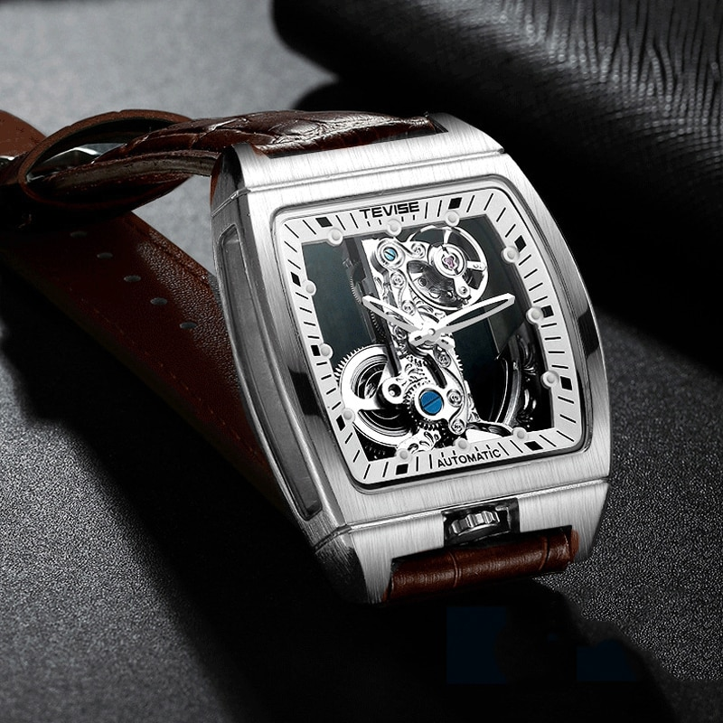 Automático dos Homens Marca de Luxo Negócios à Prova Relógio Masculino Tonneau Moda Mecânico Relógios Couro Dlogiágua Oco