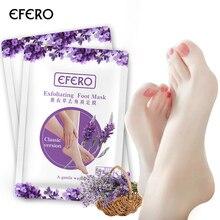 Efero 3 par = 6 pçs esfoliante pé máscara de casca de pé para pernas lavanda saltos rachadura remover meias de pele para pedicure meias