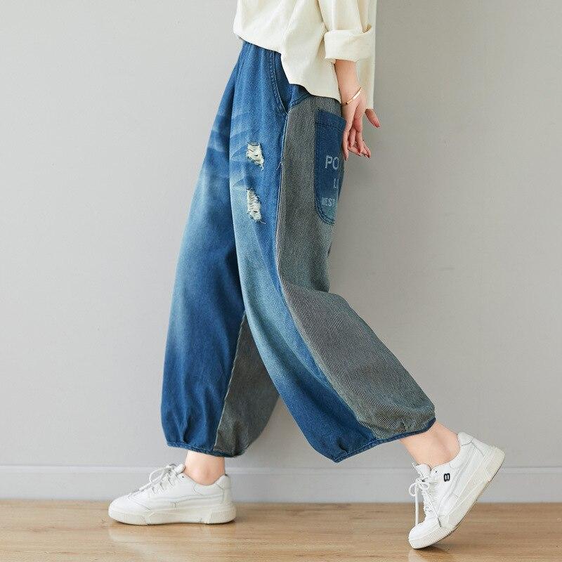 بنطلون جينز نسائي ، مقاس كبير ، أرجل واسعة ، جيوب ، مرقع ، خصر مرن ، طول الكاحل ، G050601