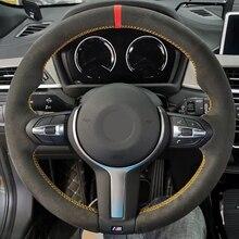 Zwart Suede Rode Marker Auto Stuurhoes Voor Bmw F87 M2 F80 M3 F82 M4 M5 F12 F13 M6 f85 X5 M F86 X6 M F33 F30 M Sport