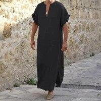 traditional men robe deep v neck simple men robe short sleeve lightweight solid color side split loose robe traditional clothing