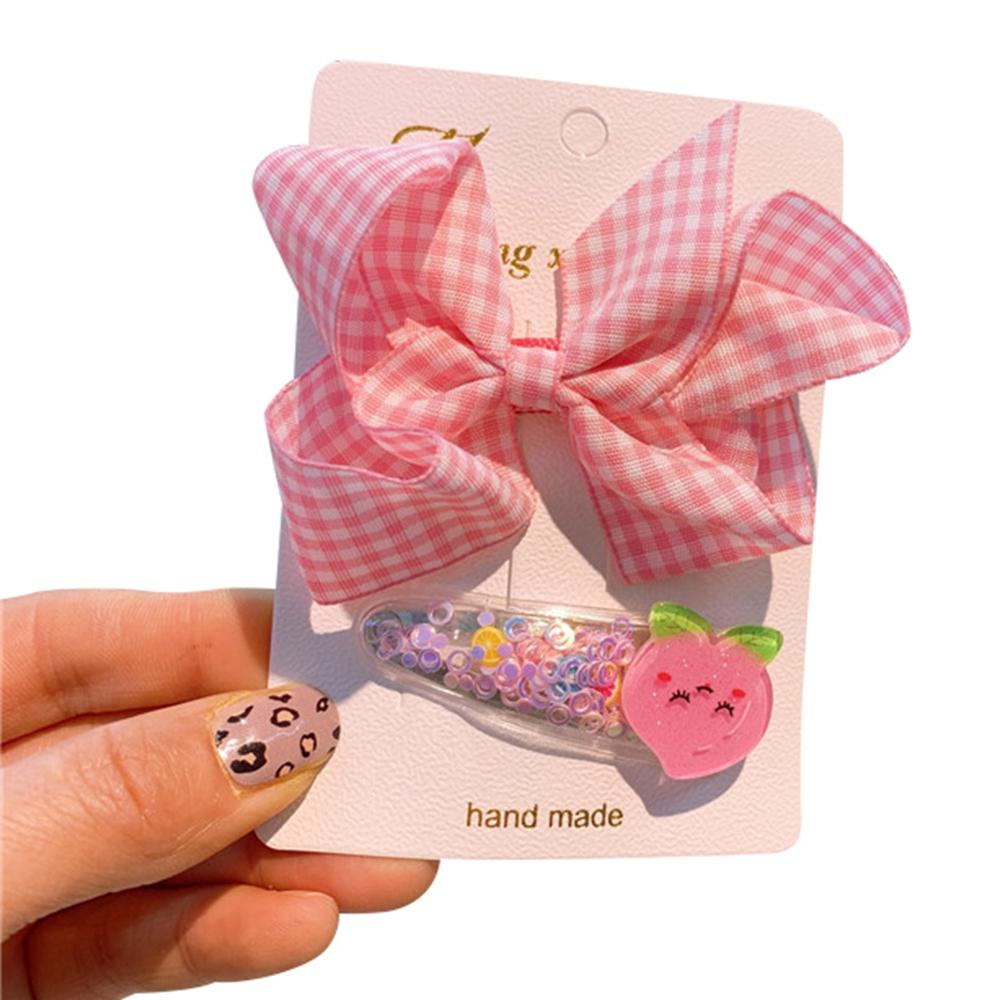 Bonito lazo de cuadros para niñas, horquilla de fruta, arena movediza, Clip para el cabello, conjunto de dos piezas