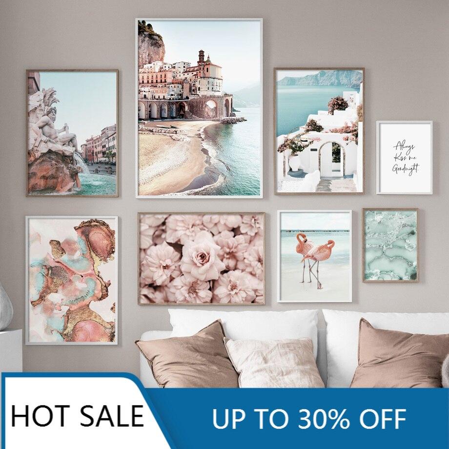 Fuente de flor de flamenco Amalfi, cuadro sobre lienzo para pared, pósteres...