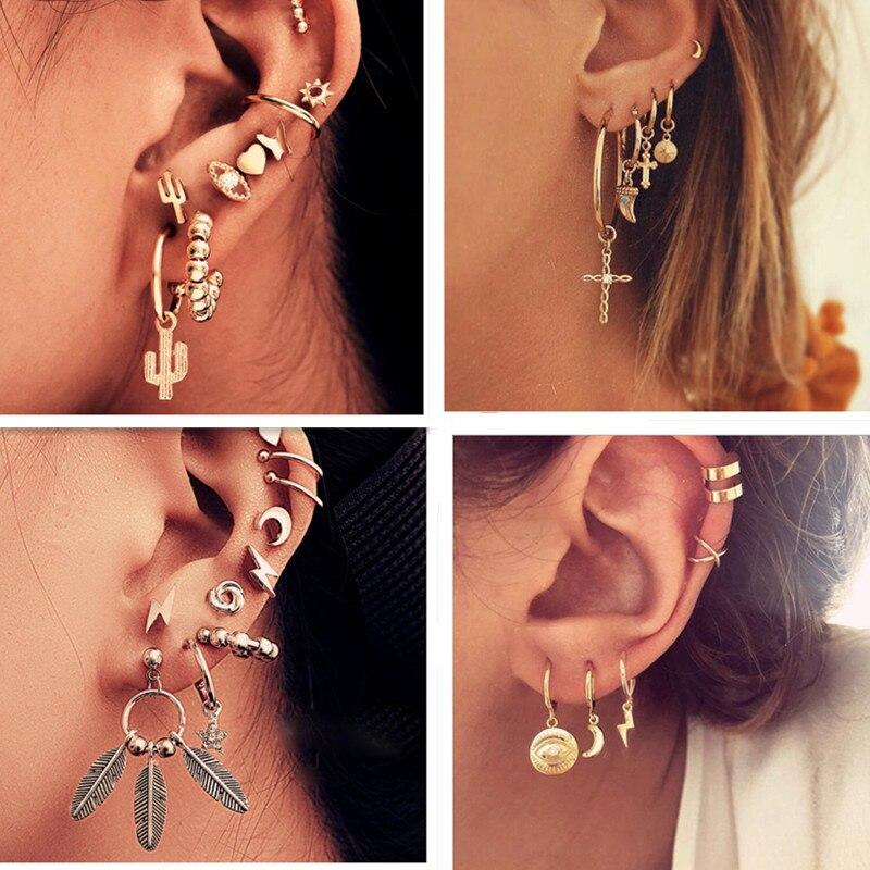 Personality Bohemian Mixed Geometric Small Stud Earrings Set Simple Cute Ear Cuff Cactus Eye Star Moon Tiny Earrings for Women