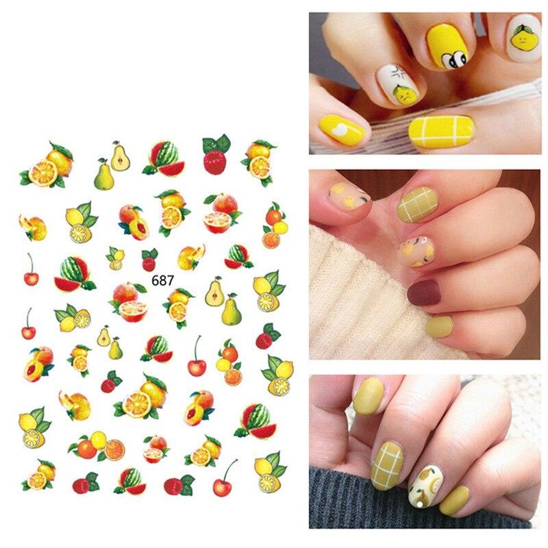 1 Uds lindo adhesivos para uñas s fruta, piña, sandía limón patrones adhesivos para manicura de uñas adhesivos para uñas arte Decoración