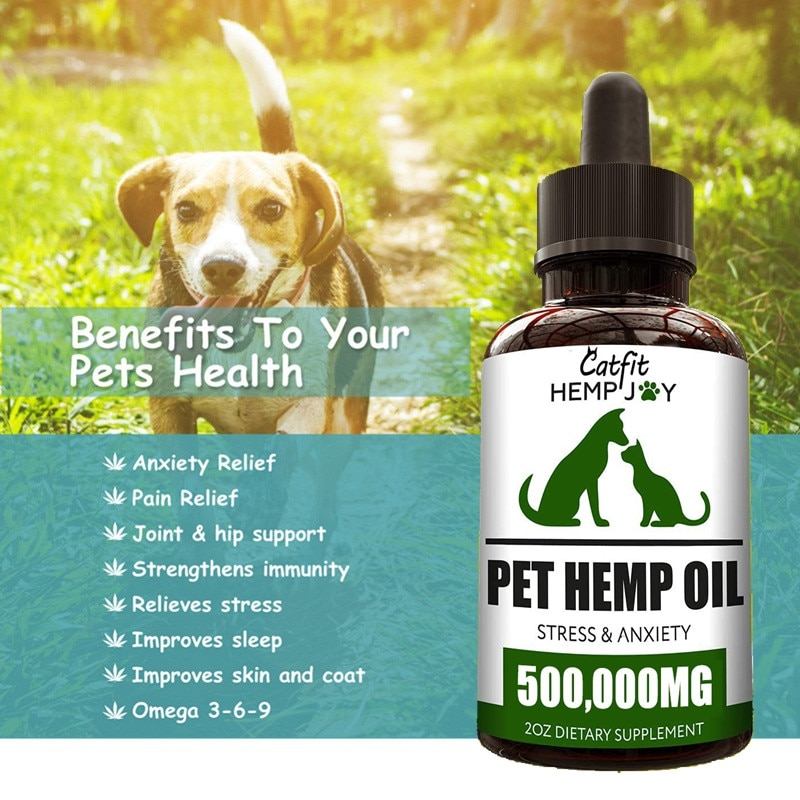 Catfit Natural Hemp Essential Oil Pet Anxiety Relief Pain Relief Oil Pet hair Care Oil Improve Immunity for Dogs and Cat