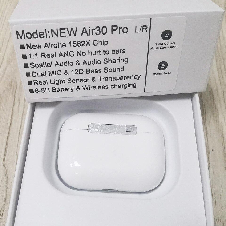 Sensor de Luz Fone de Ouvido sem Fio Nova Híbrido Anc 1562x Chip Bluetooth 5.0 hd Dupla Microfone Transparência Air30 Pro Tws 45db
