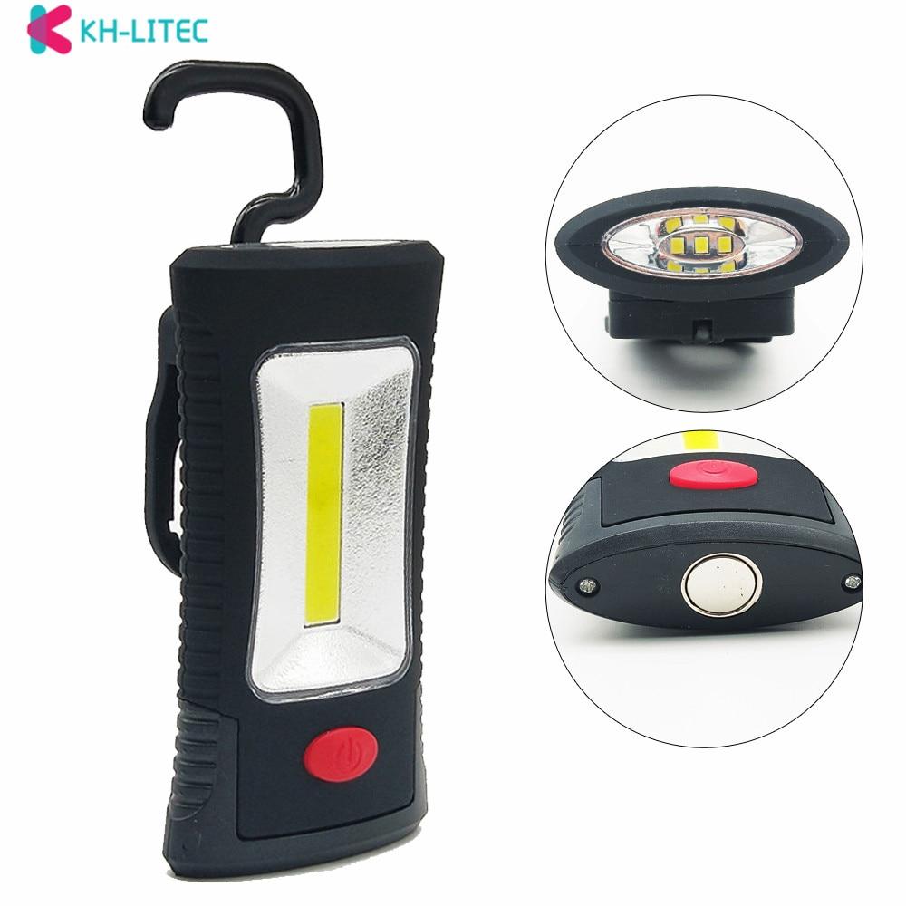 KHLITEC multifuncional portátil COB LED magnético gancho plegable Luz de Inspección de Trabajo linterna uso 3x AAA