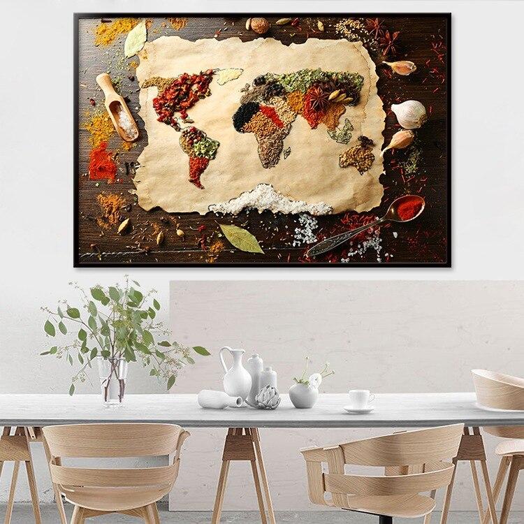 Cuadro de cocina con diseño de mapa del mundo de especias y granos, Cuadros escandinavos, carteles e impresiones de alimentos, cuadro artístico para decoración de sala de estar
