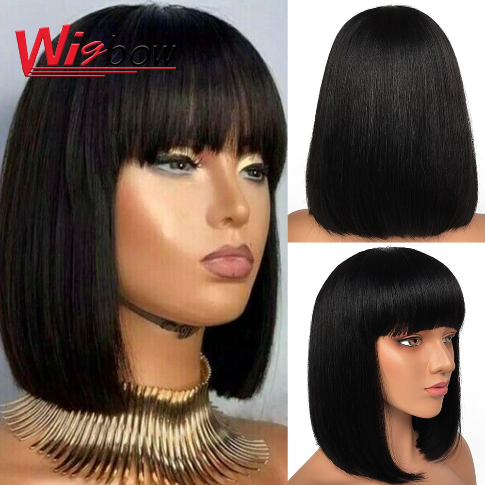 AliExpress - Pixie Cut Bob Wig Peruvian Ombre Red Blond Human Hair Wig With Bangs Straight Short Bob Human Hair Wigs For Women Full Wig Remy