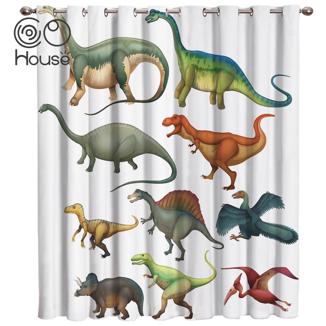 أنواع مختلفة من ستائر غرفة الديناصورات ، وستائر النوافذ الكبيرة ، وديكور الحمام ، ونسيج غرفة النوم ، وستائر الأطفال