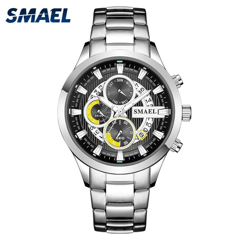 SMAEL Mens Watches Top Luxury Brand Sports Watch Life Waterproof Men Quartz Wristwatch Three Points Business Chronograph Relogio
