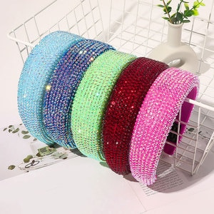 2020 Baroque Bejeweled Hair Bands For Women Luxury Full Crystal Padded Headband Shiny Diamond Hair Hoop Fashion Hair Accessories