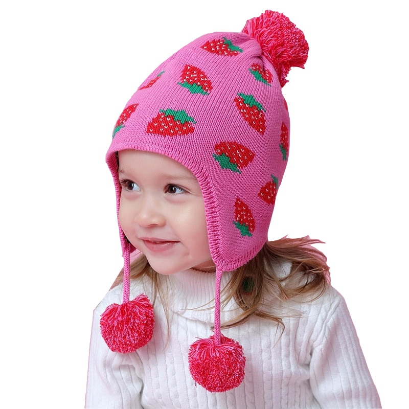 High Quality Rose Strawberry Warm Beanie Cap Toddler Baby Girls Winter Hat Children for 6 Month To 8 Years Old Kids Hats