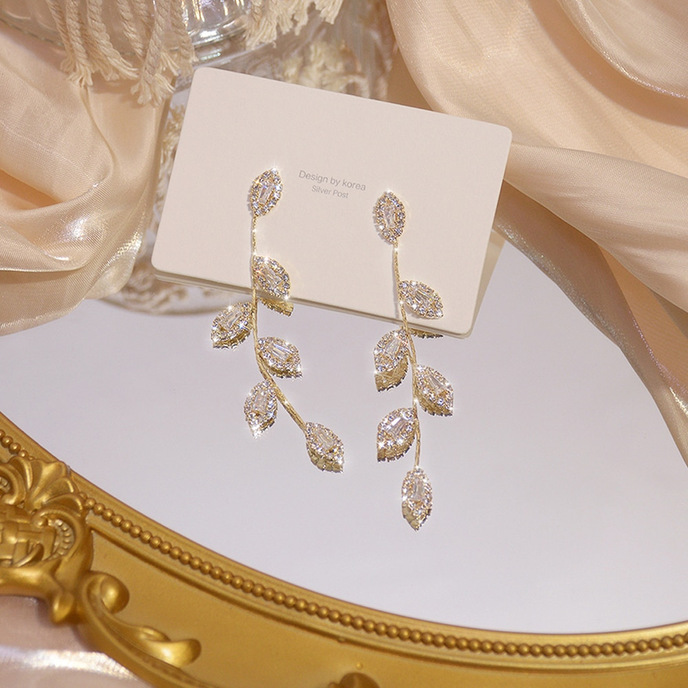 JUWANG Luxury 14K Real Gold Plated Leaves Earring Delicate Micro Inlaid Cubic Zircon CZ Stud Earring