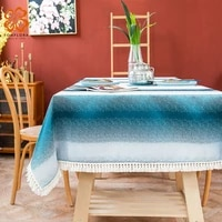 mediterranean sea waves cotton linen tablecloth with tassels striped blue tea table cover dining table cloth decoration chiffons