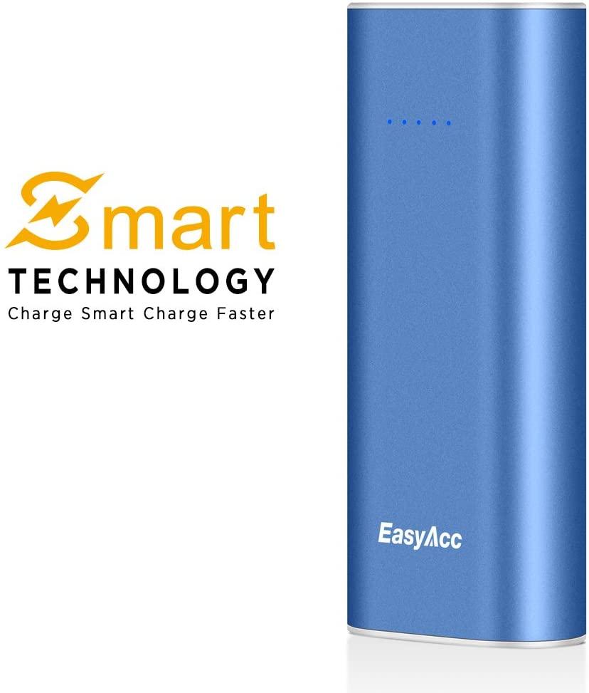 EasyAcc 2nd Gen. Metal 6400mAh Power Bank Bar Paquete de batería externa cargador portátil para iPhone Samsung Xiaomi Smartphones azul