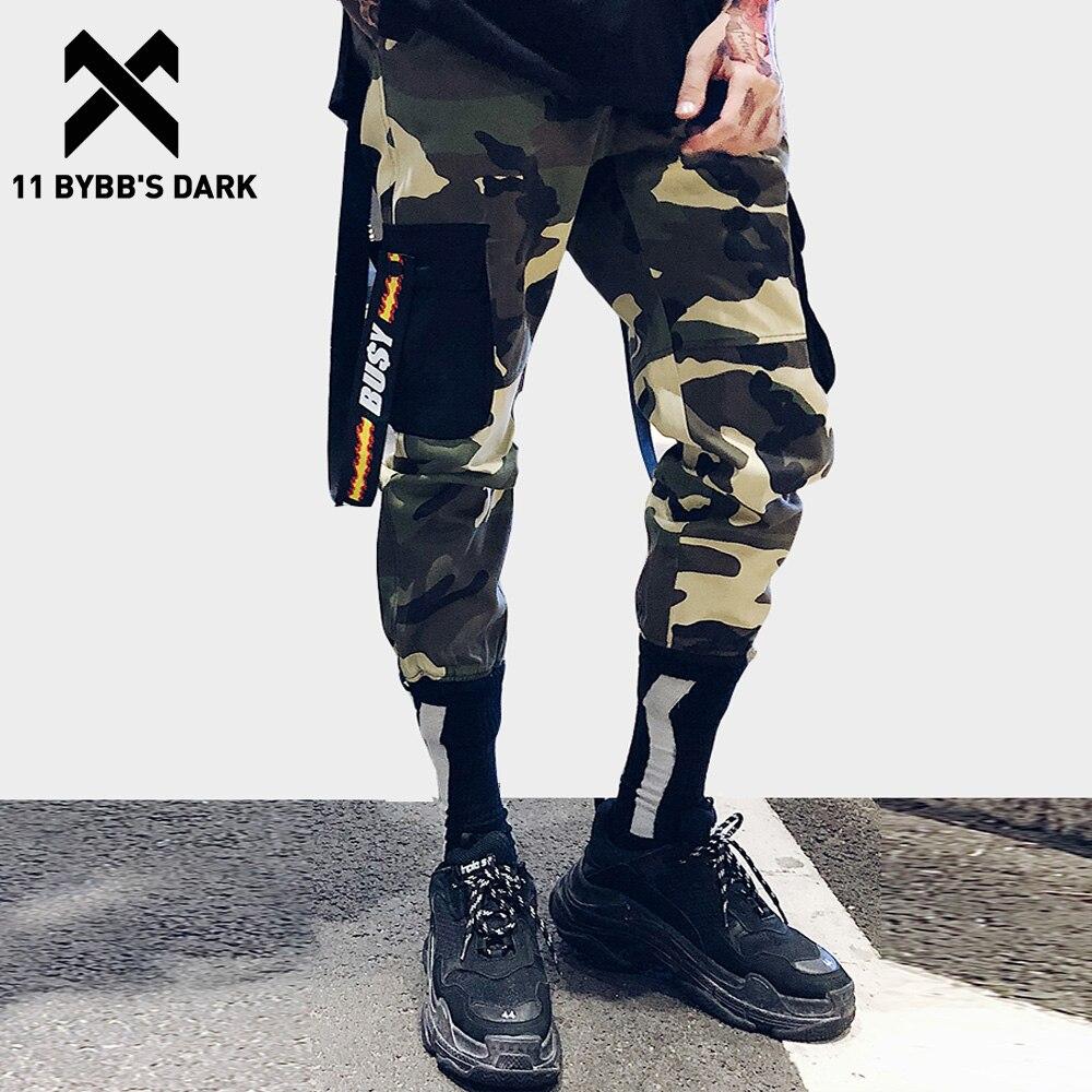 11 BYBBS DARK camuflaje estampado Patchwork Harem Joggers hombres Casual pantalones cintas pantalones de hip hop Harajuku Streetwear