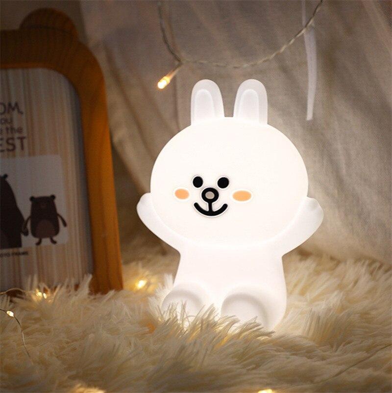 سيليكون إضاءة ليد ليلية USB شحن ملون تلون لطيف أرنب بات أضواء النوم ضوء كشك ليلة مصابيح للأطفال