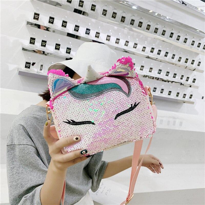 JIULIN/Новинка 2019 года; модная детская сумка с героями мультфильмов; женская сумка для родителей и детей; диагональная расшитая блестками звериный Рог