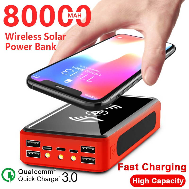 Get 80000mAh Wireless Solar Power Bank External Battery PoverBank 4USB LED Powerbank Portable Mobile Phone Charger for Xiaomi Iphone