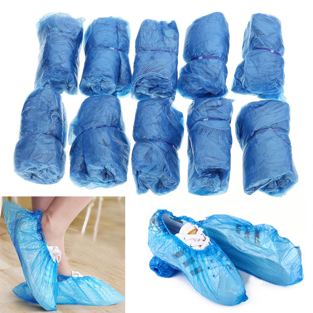 100 unids/lote, cubre botas impermeables de plástico contra la lluvia, cubiertas desechables para zapatos, cubiertas para zapatos de Hospital, Kits para el cuidado de los zapatos, Drop Shiping