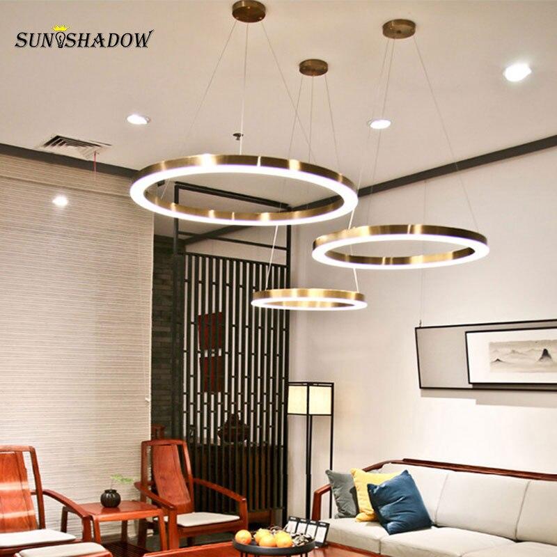 Современные круглые дома светодиодные лампы, люстры внутренней отделки люстра лампа для Гостиная Обеденная Кухня Спальня светильник блеск