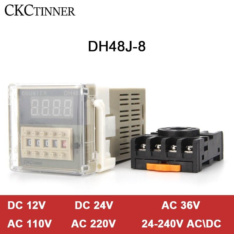 Contadores de Exibição 8pin com Base Eletrônico Preset Digital Acyclic Contadores 1-999900 Relé Dc12v – 24v 36v Ac110v 220v 380v Dh48j-8