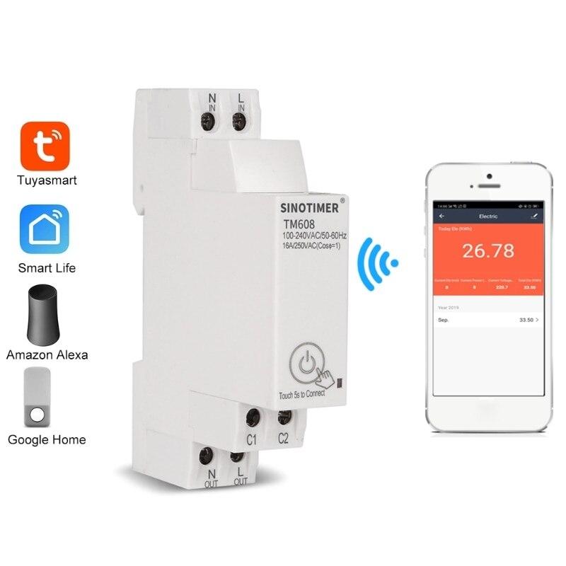 TM608 مرحلة واحدة واي فاي مقياس الطاقة المنزلية مع الموقت التبديل التحكم عن بعد بواسطة APP متعددة الوظائف الجهد الحالي كشف تيم