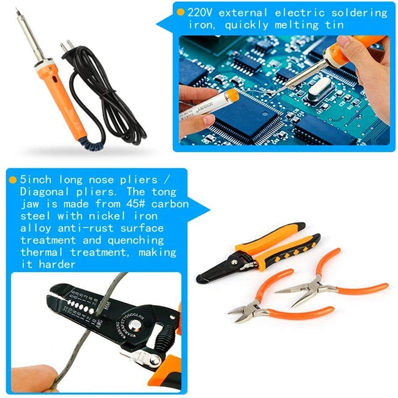 HTOC RJ45 Network Crimp Tool Kit Professional Crimper Wire Connector Stripper Cutter LAN Cable Tester Soldering Iron Repair Tool enlarge