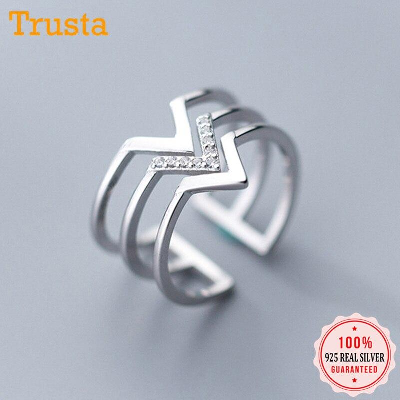 Trustdavis 925 sólido de plata de ley Real 3 capas V CZ anillos de apertura de dedo ajustable para mujeres niñas joyería de plata fina DA39