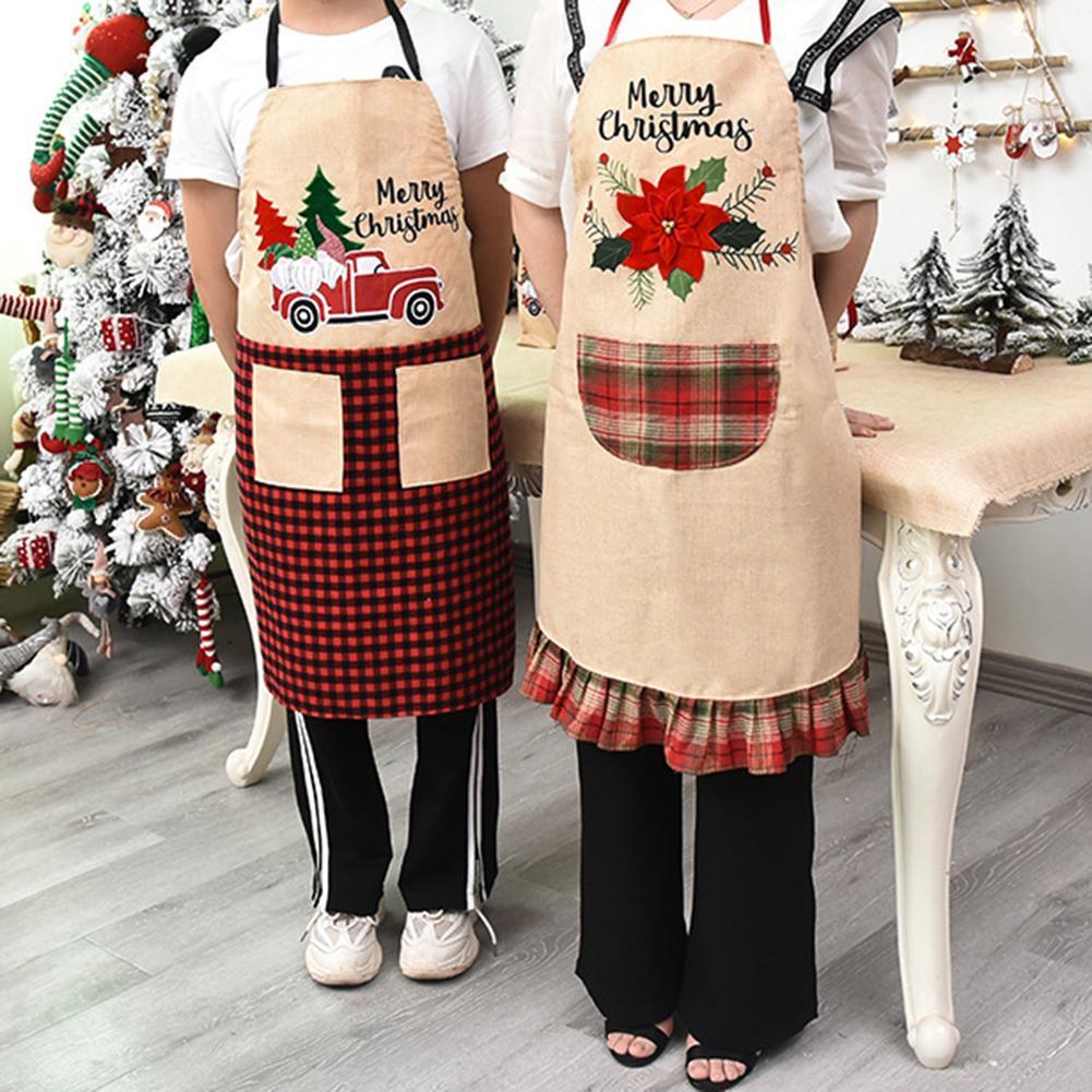 2020 desenhos animados grade de natal flor padrão carro avental vestido decoração do feriado ornamento árvore natal decoração arvore de natal