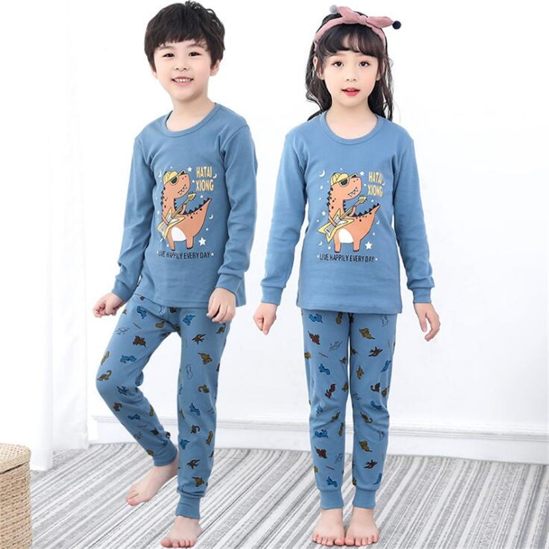 2-12 Years Old Childrens Pajama Sets Cotton Full Sleeve Kids Christmas Pijamas Teens Boys Girls Homewear Autumn Baby Sleepwear
