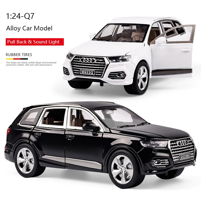 1:24 Diecast Metal Toy Vehicles Alloy Pull Back Car Model Simulation Q7 Sound Light Car Doors Open Kids Car Birthday Gifts Toys недорого