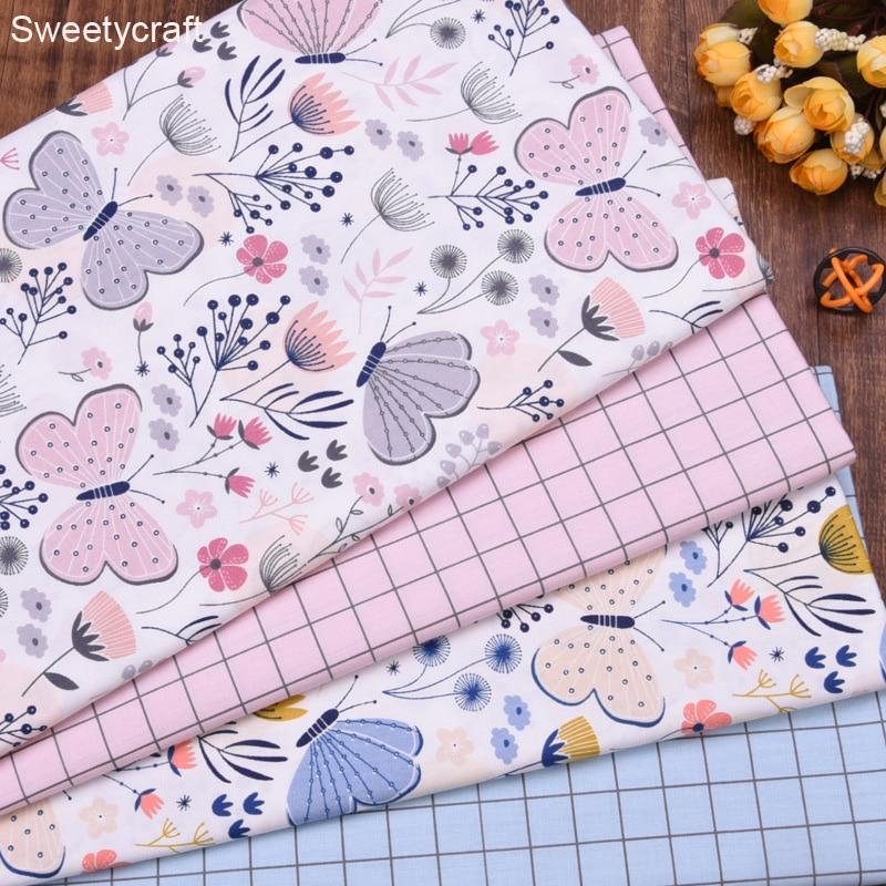 50x160cm, estampado de cuadros chico con mariposa, tela de algodón de sarga para colcha de medio metro para costura DIY, Sábana de cama, tela de algodón para confección de ropa