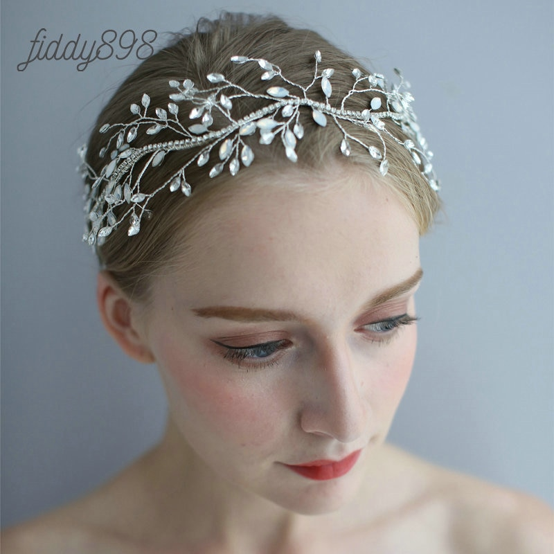 Diadema de lujo de plata con diamantes de imitación para mujer, accesorios...