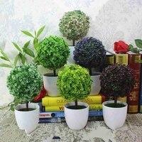 Plantes artificielles bonsai vertes  petit arbre a boules  art deco maison jardin bureau  fausses plantes en plastique avec plantes vertes en pot  fournitures artisanales
