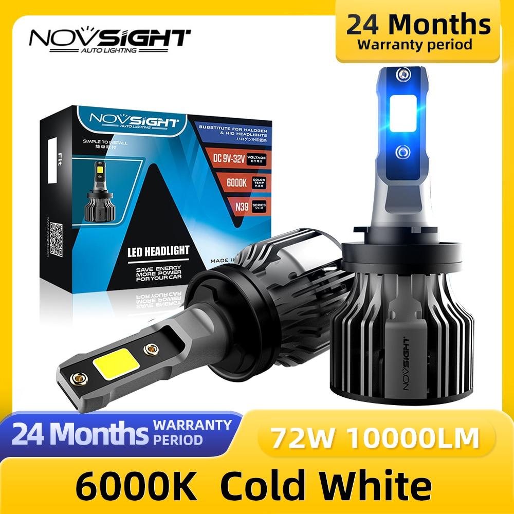 NOVSIGHT H11 Led سيارة مصابيح 6000K 72W 10000LM زوج H4 H7 H1 H13 9005 9006 9004 H3 9007 9012 881 الضباب ضوء استبدال لمبة المصباح