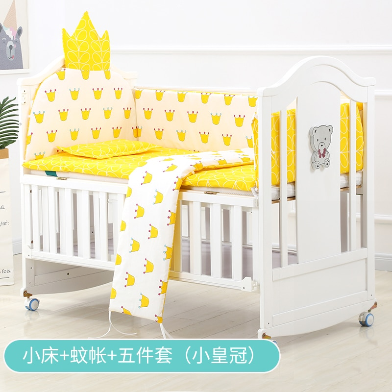 Crib Solid Wood White European Style Baby BB Bed Bassinet Newborns Multi-functional Joint Bed enlarge