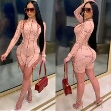 Echoine Zipper Letter Print Lace Up Hollow Out Bandage Skinny Long Sleeve Playsuit Women Fitness Bod