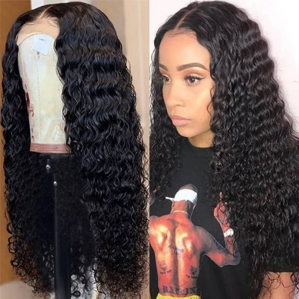 34 Inches Deep Wave Lace Frontal Wig 250% 13x4 Lace Front Wig Indian Virgin Transparent Lace Human Hair Wigs Curly Wig