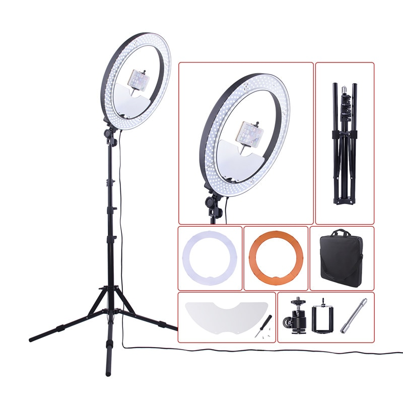 fosoto Rl-18 Led Ring Light 18 Inch Photography lighting Dimmable Ring Lamp With Tripod And Mirror Ringlight For Makeup Youtube