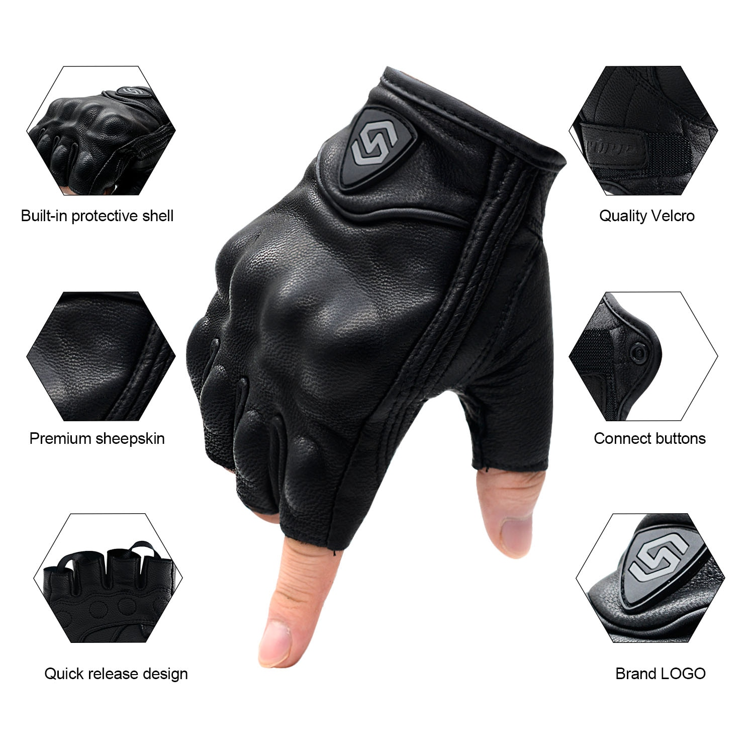 Black Men's Gloves Motorcycle Fingerless Gloves Leather Fashion Cycling Gloves Motorbike Bicycle Riding Fishing enlarge