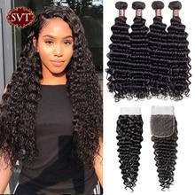 "SVT Hair Deep Wave Bundles With Closure 4Pcs/Lot 8-26"" Middle Ratio Indian Hair Non-Remy Human Hair Bundles With Closure"